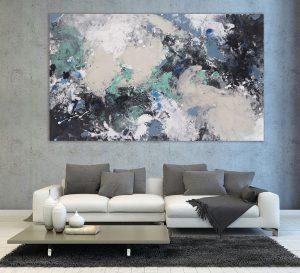 toile dans le salon couleur bleu gris