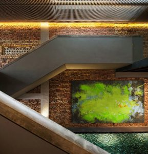 Toile originale verte abstraite en grand format