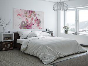 toile d'artiste rose et grise dans la chambre