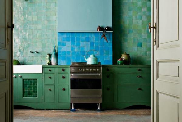Grand Photo Decoration Cuisine Bleu Vert 2
