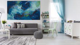Toile - peinture bleue grand format d'Isabelle Delanoue