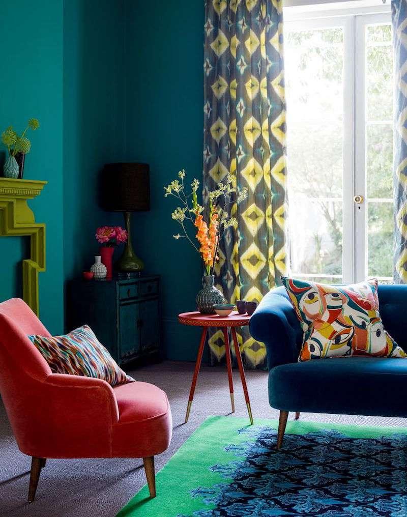 deco-bleu-canard-sarcelle-corail-jaune-vert-olive-salon-vintage ...