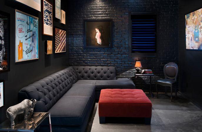 décoration-salon-moderne-noir-et-rouge - Isabelle Delanoue